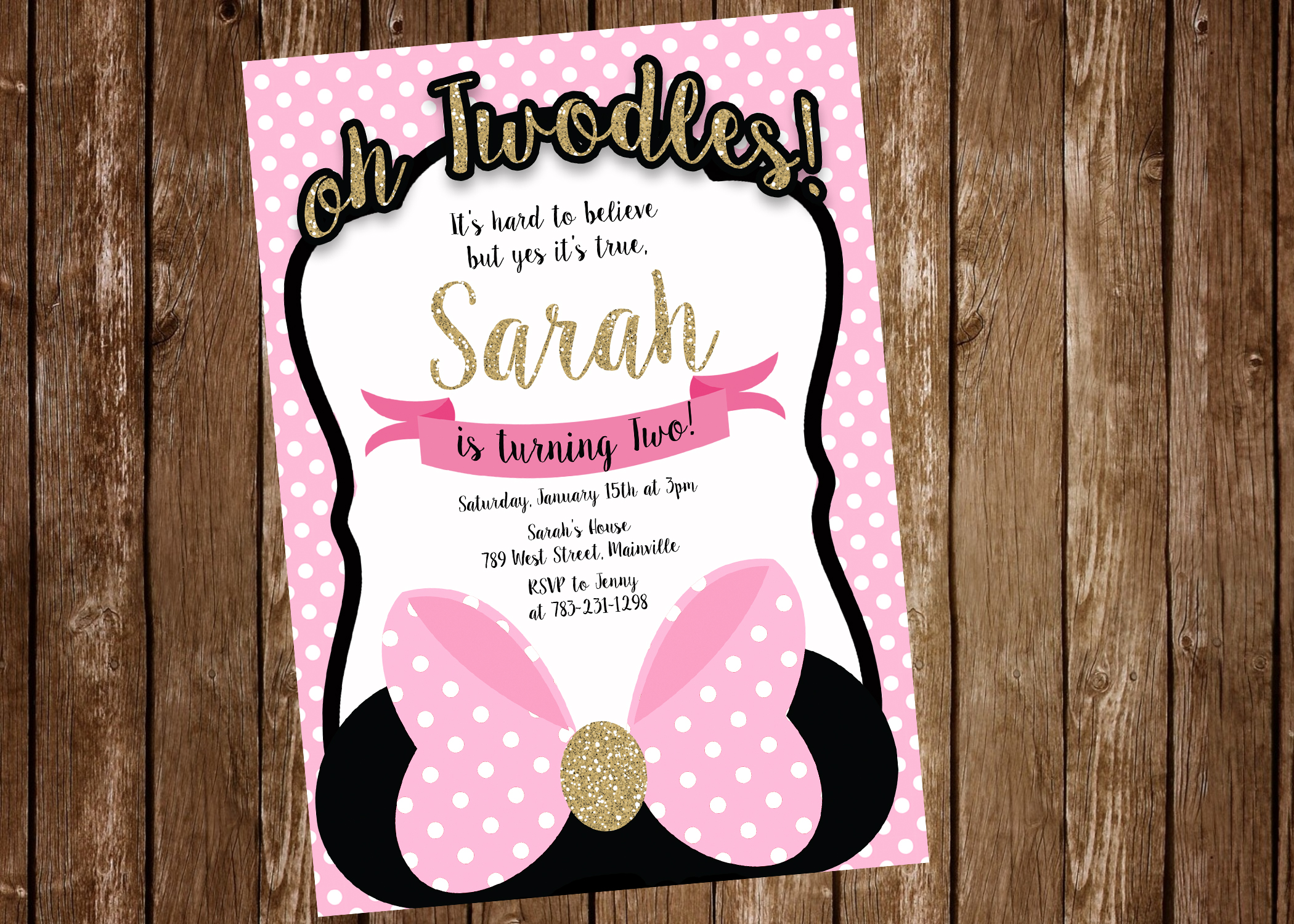 Minnie mouse 2nd birthday two odles birthday party invitation minnie mouse 2nd birthday two odles birthday party invitation digital or filmwisefo