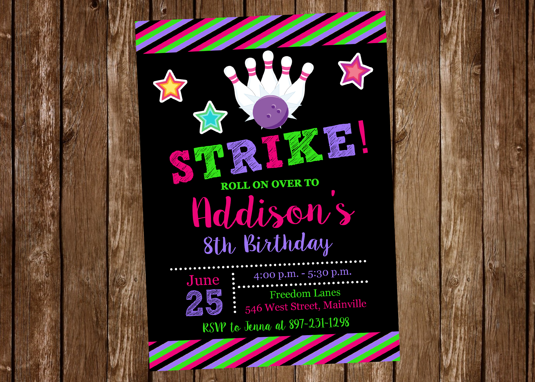 bowling birthday party invitation bowling girl invitation