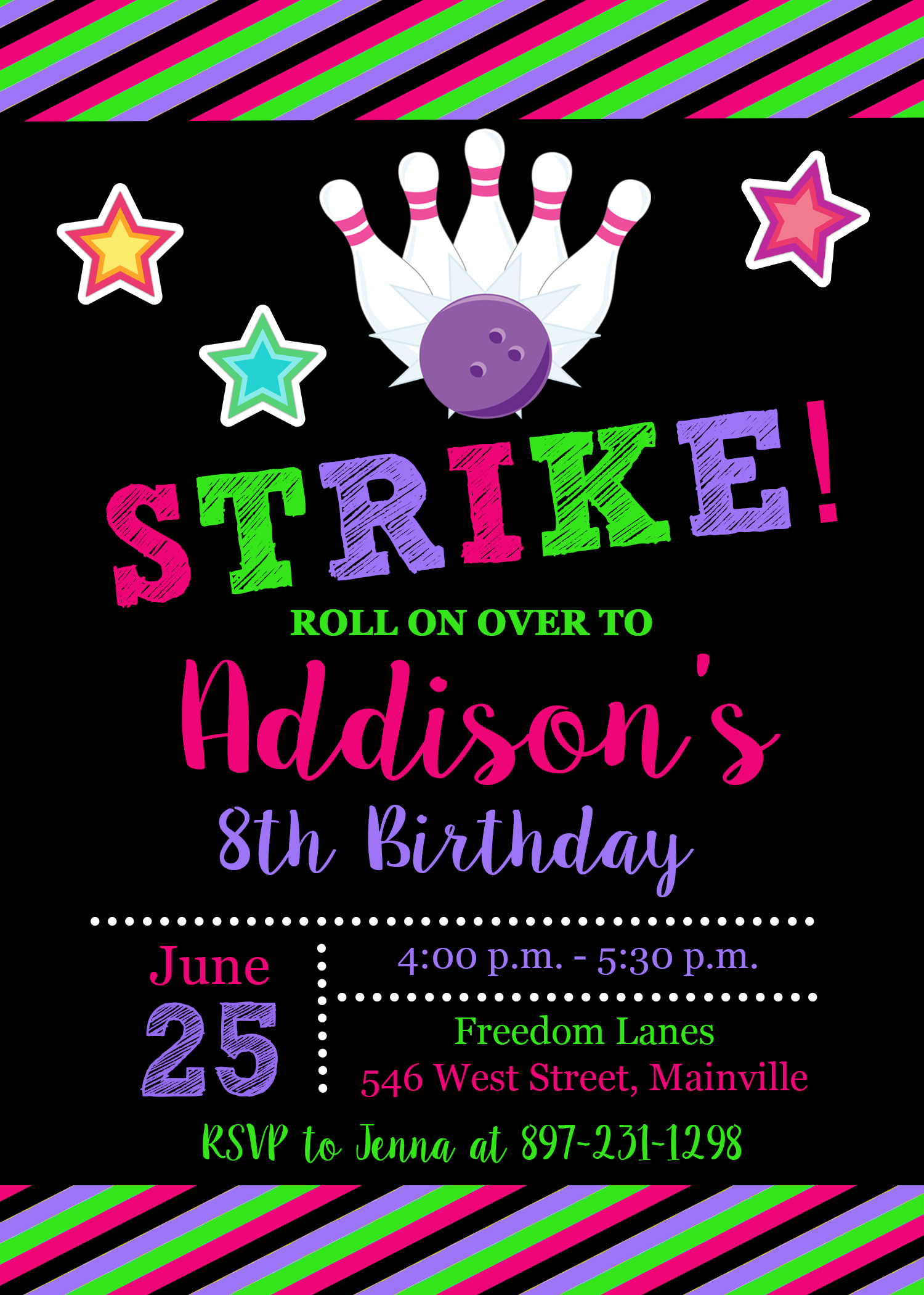 Bowling birthday party invitation bowling girl invitation bowling birthday party invitation bowling girl invitation digital or printed thumbnail filmwisefo