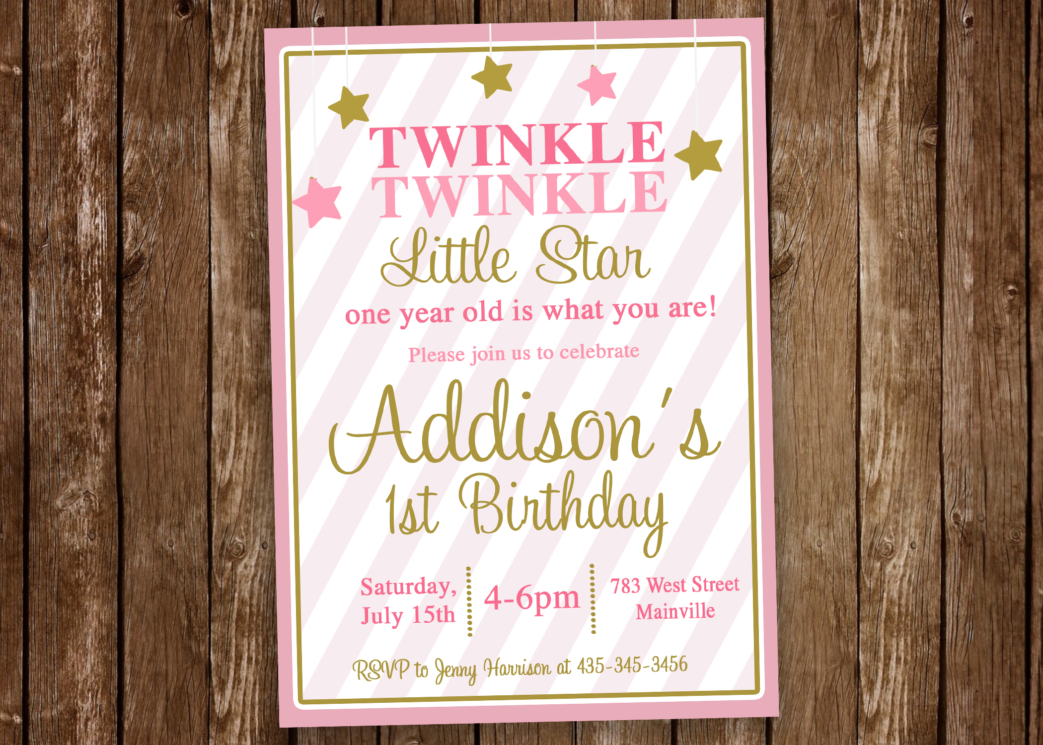 Twinkle Little Star Invitation Pink Gold One Year 1st Birthday