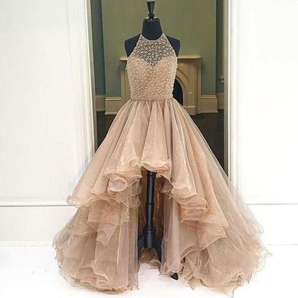 Long Prom Dress Champagne Prom Dress High Low Prom Dress Charming