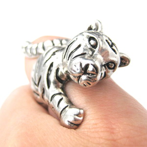 3D Cute Tiger Cat Animal Wrap Around Ring in Silver in Size 7 to 9