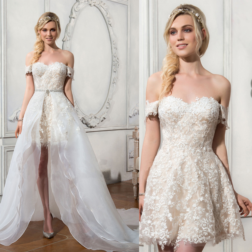 Am387 Off Shoulder Short Beach Wedding Bride Dress Lace Reception