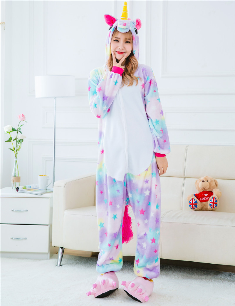 ab1fab36da Stars Rainbow Unicorn Pajamas Animal Stitch Unicorn Panda Bear Koala  Pikachu Onesie Adult Unisex Cosplay Costume ...