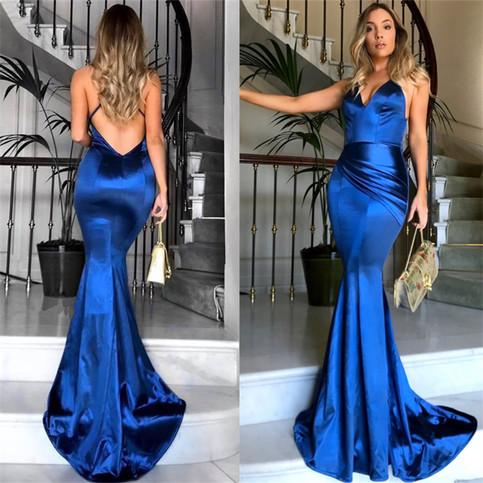royal blue sexy mermaid prom dresses long vneck
