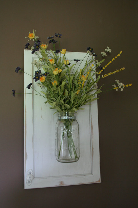 Wall Hanging Mason Jar Vase On Recycled Wood Cabinet Door