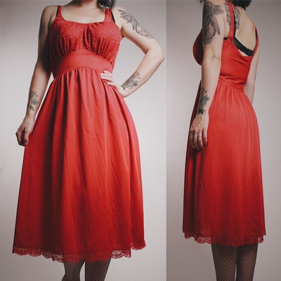 Claimed  vamps420 - vintage 60s red lace and satin nightie dress 8484e1ef4