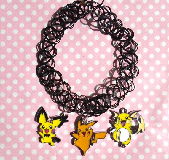 Cute Pichu Pikachu Or Raichu 90s Black Tattoo Choker