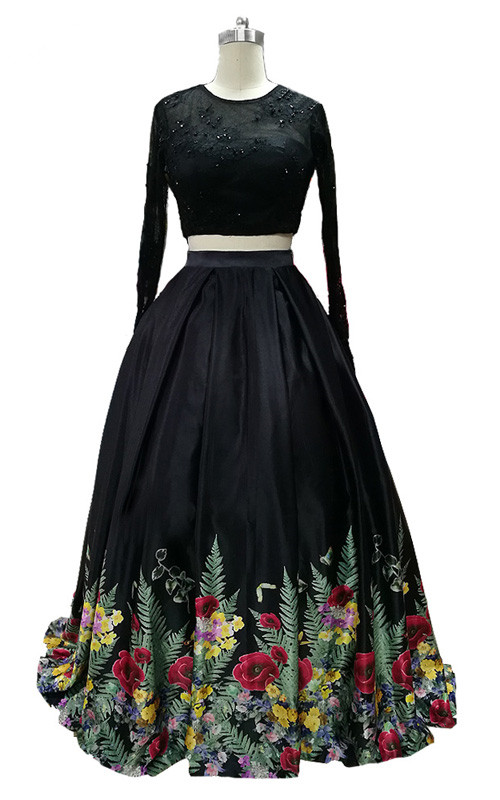Black Floral Print Ball Gown Satin Floor Length Scoop Two Piece Prom ...