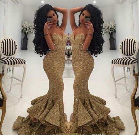 New Designer Bling Gold Sequins Mermaid Prom Dresses 2017 Spaghetti ...