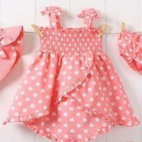 3 Piece Polka Dotted Sun Dress Set with Bonnet Bloomers and Swing Top Dress PRE SALE