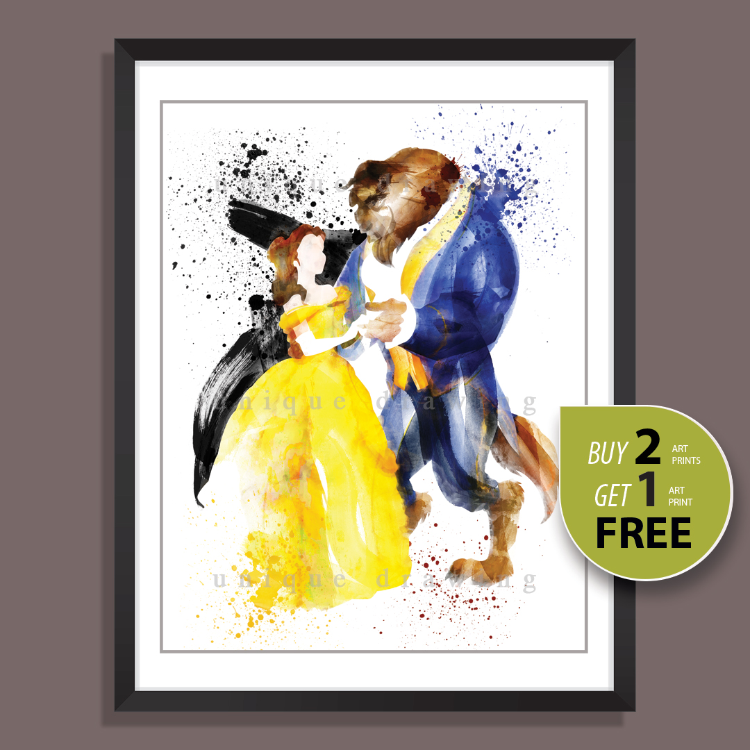 Beauty and The Beast, Disney Princess Belle, Movie Poster, Wall art ...