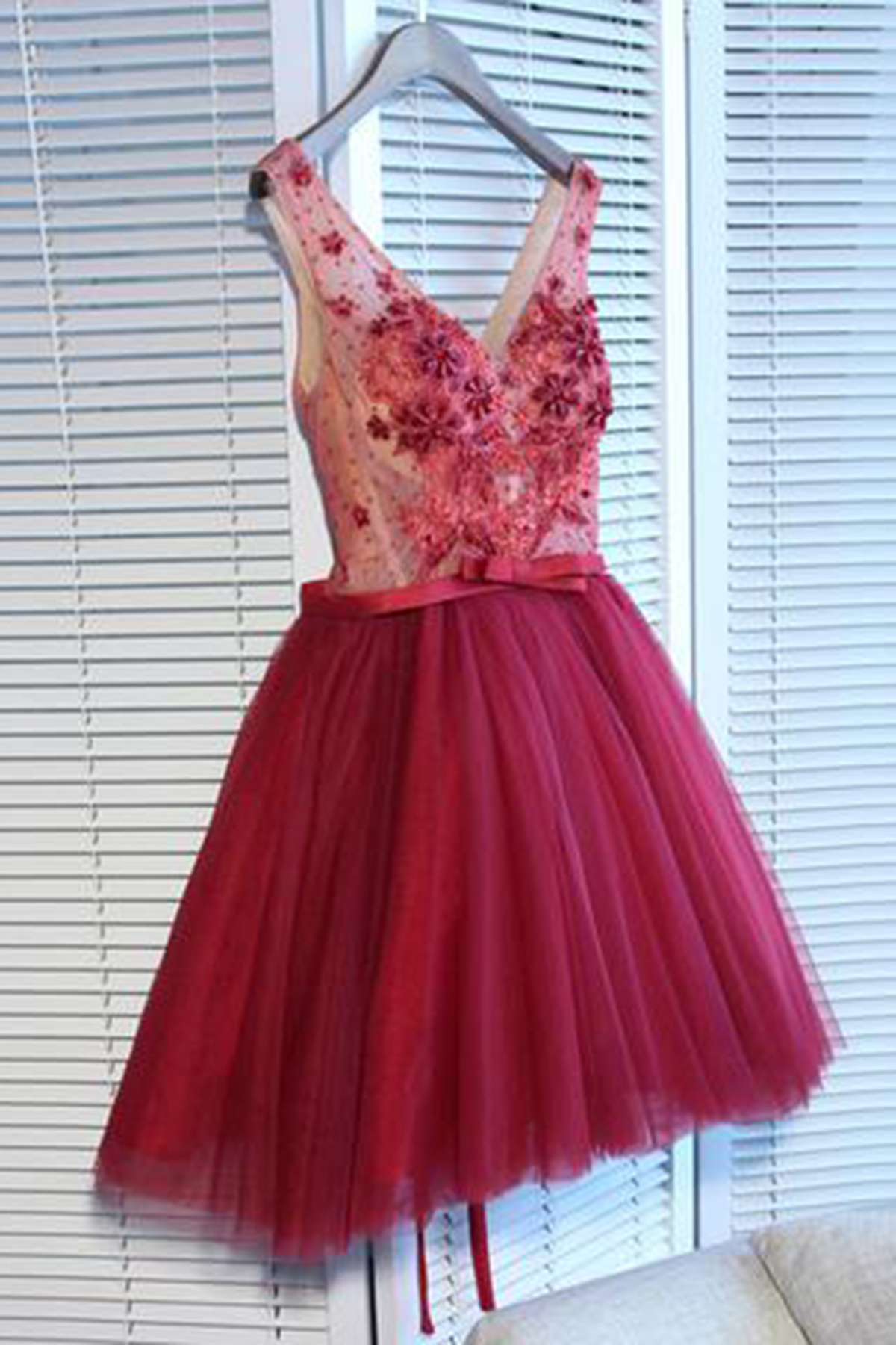 Cheap Prom Dresses by SweetheartDress · Cute burgundy tulle v neck ...