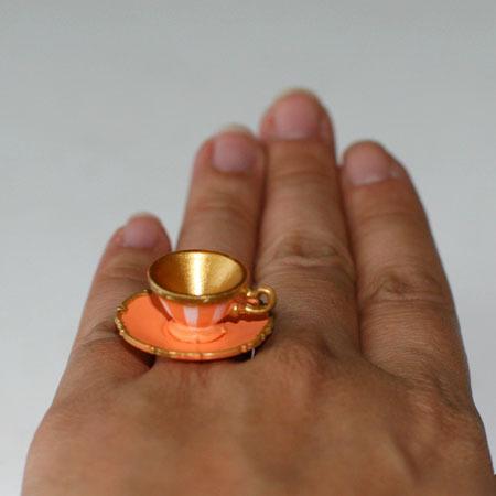 Kawaii Cute Miniature Food Ring Orange Teacup And Saucer