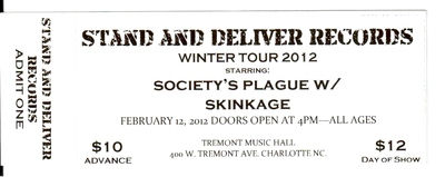 Wintour tour 2012 ticket  w/ society's plague/skinkage/cause for revelation - charlotte, nc