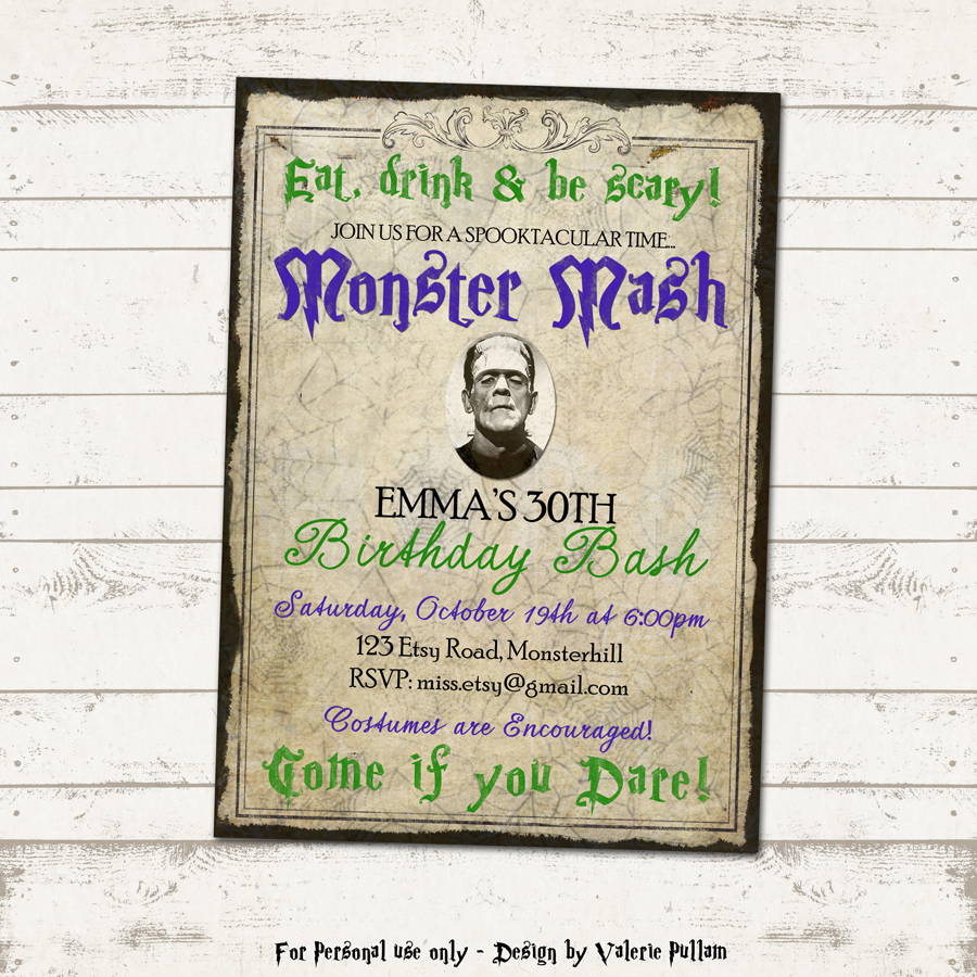valerie pullam designs | monster mash bash party invitation