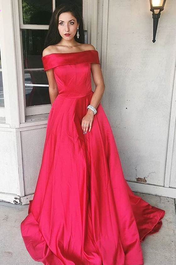1cbd84f860eb3 Elegant A-line Off-shoulder Long Satin Prom Evening Dress Plus Size E271