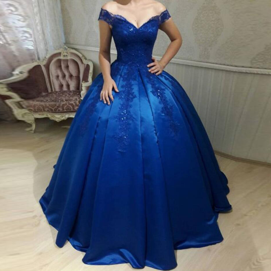 Royal Blue Off The Shoulder Ball Gown Prom Dress,Formal Gown With ...