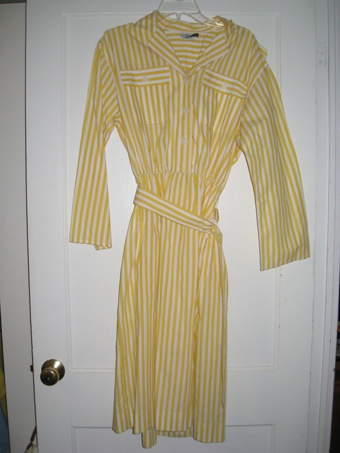 80s Yellow and White Striped Dress