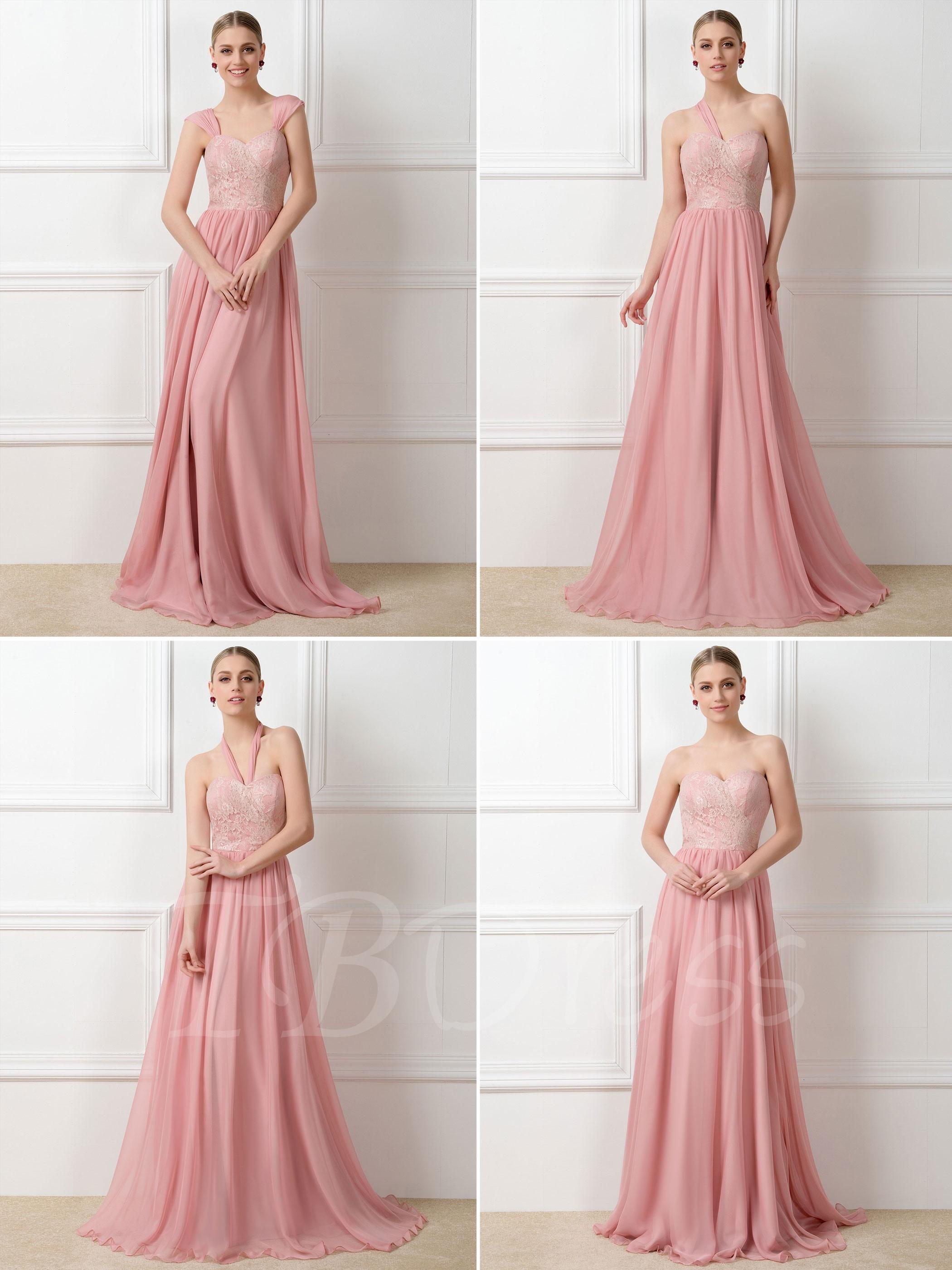 Hermosa Vestido De La Dama De Honor De Encaje Marfil Embellecimiento ...