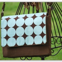 Small Messenger Bag in Brown - Large Dots - Mothers day Special - Was $55 Now $35