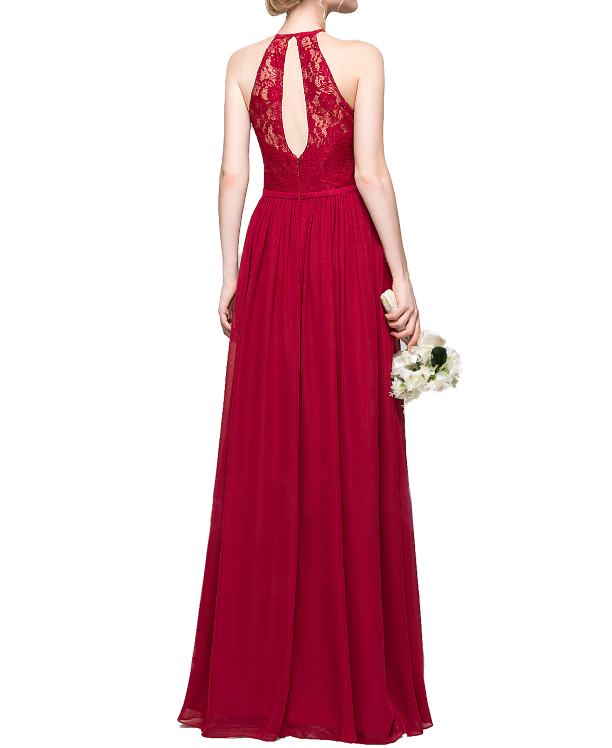 F411 Halter Lace Top Prom Gowns,Burgundy Long Chiffon prom Gowns ...