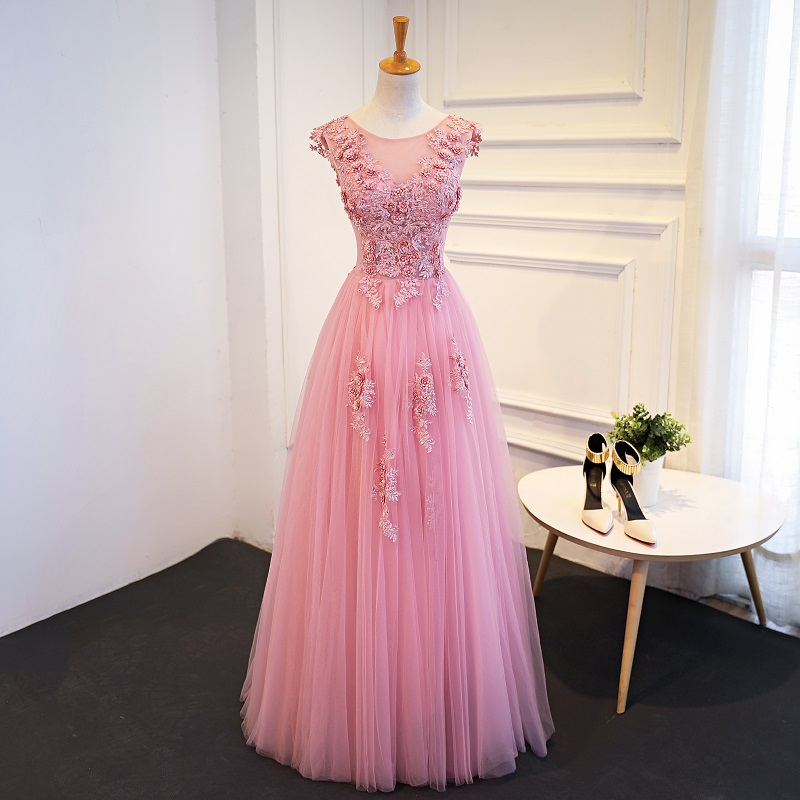 Blush Pink Cap Sleeve Lace Scoop Neckline Lace Beaded Evening Prom ...
