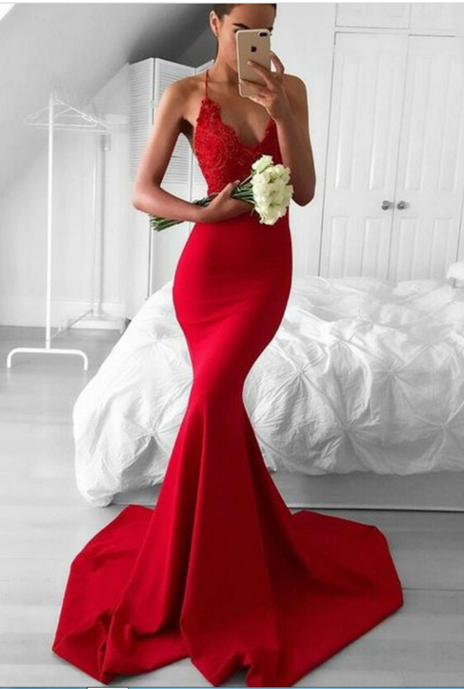 Prom Dresseslace Mermaid Prom Dresscut Out Back Party Dressformal