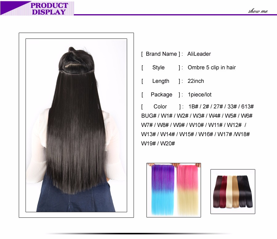 5 Clips On Hair Extension Heat Resistant Best Japanese Kanekalon