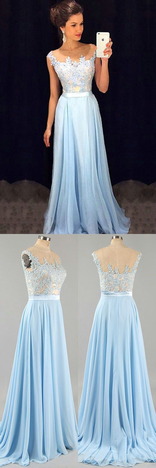 Light blue A-line chiffon lace long prom dress, bridesmaid dress ...