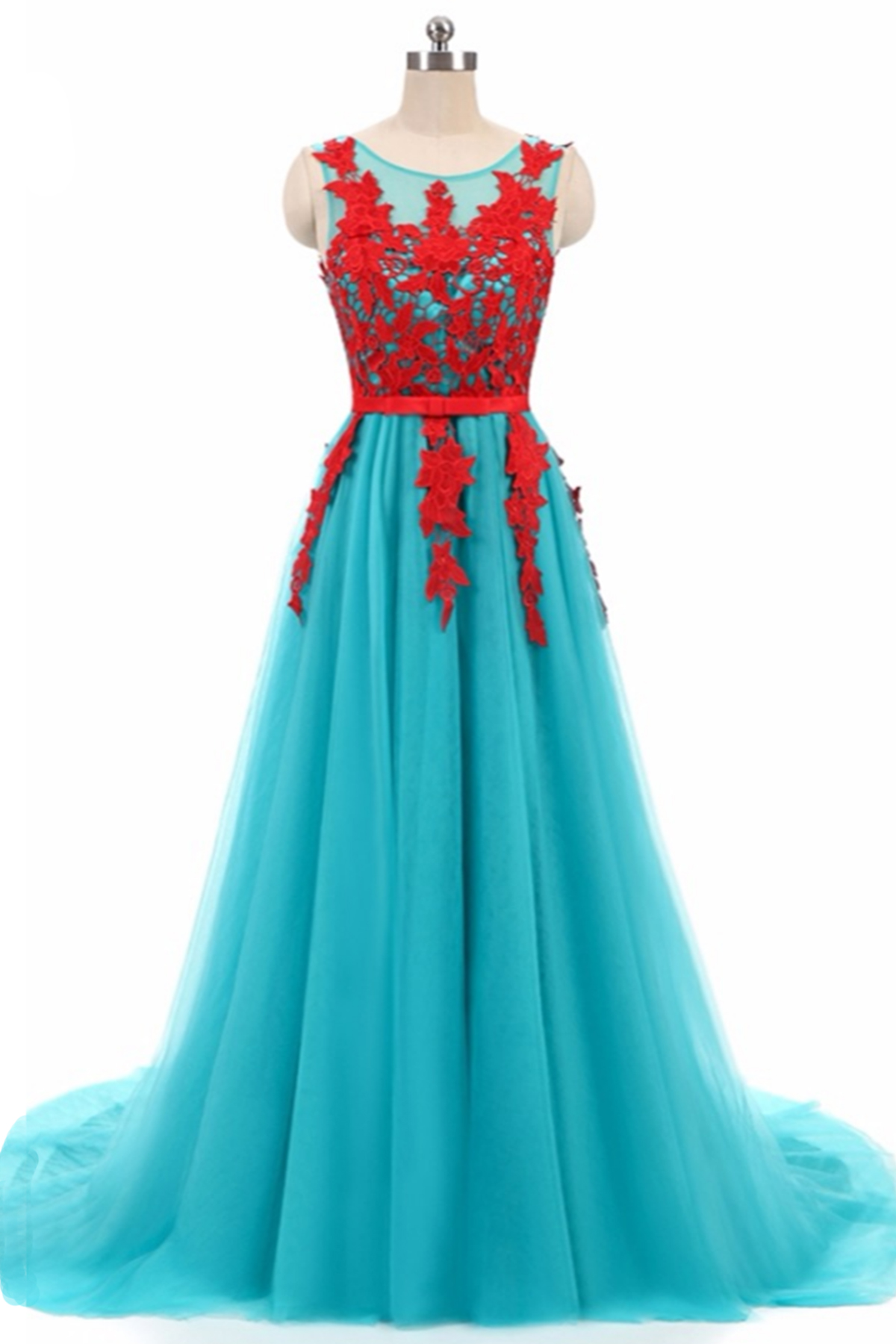 Blue tulle long red lace round neckling evening dress | QPromDress ...