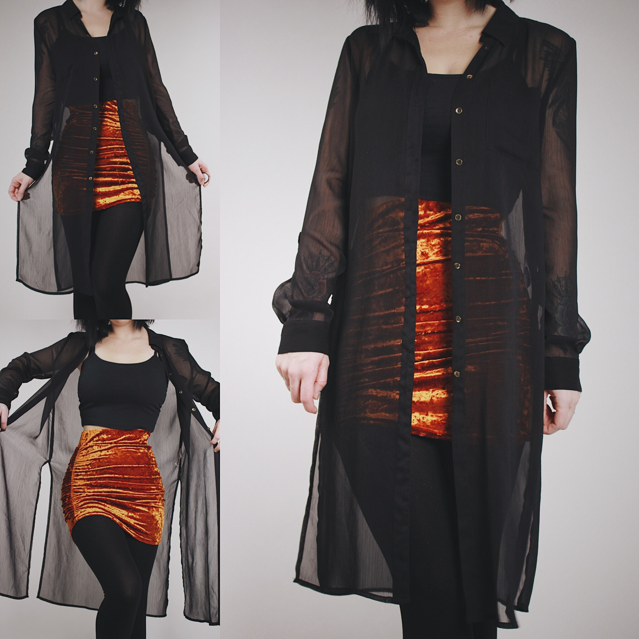 RESERVED FOR KERI - Vintage 90s Black Sheer Button-Down Duster ... caf6ad624