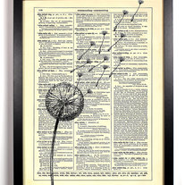Image of Dandelion Wishes, Vintage Dictionary Print, 8 x 10