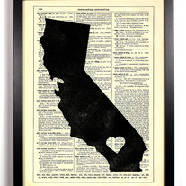 Image of I love California State, Vintage Dictionary Print, 8 x 10