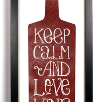 Image of Keep Calm And Love Wine, Typography Print,  5 x 10.5