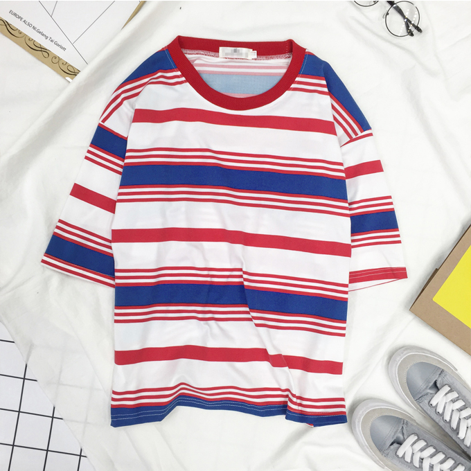 free dhl shipping red blue stripe t shirt on storenvy. Black Bedroom Furniture Sets. Home Design Ideas