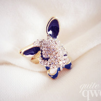 Crystal Studded Bunny Ring (Adjustable)