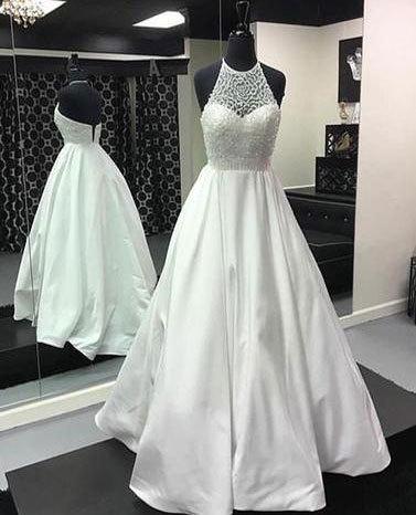 Elegant White Halter Prom Dresses with Beaded · dressydances ...