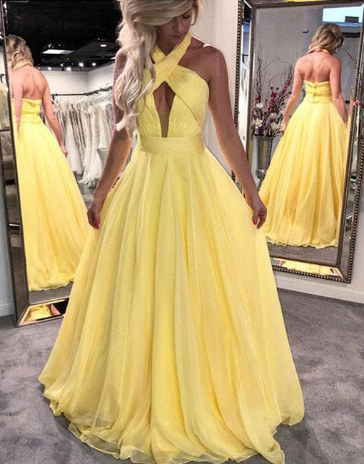 Unique Yellow Halter A-Line Chiffon Prom Dress,Yellow Prom Dress ...