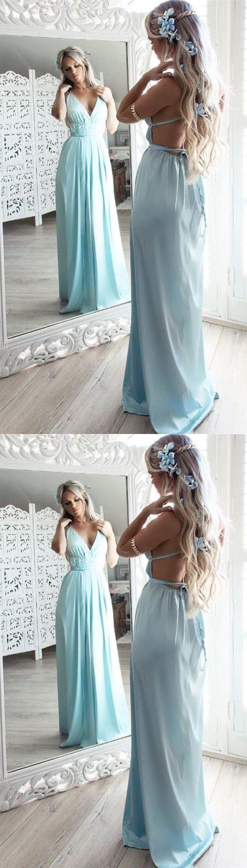 A-Line Prom Dresses,Spaghetti Straps Prom Dresses,Backless Prom ...