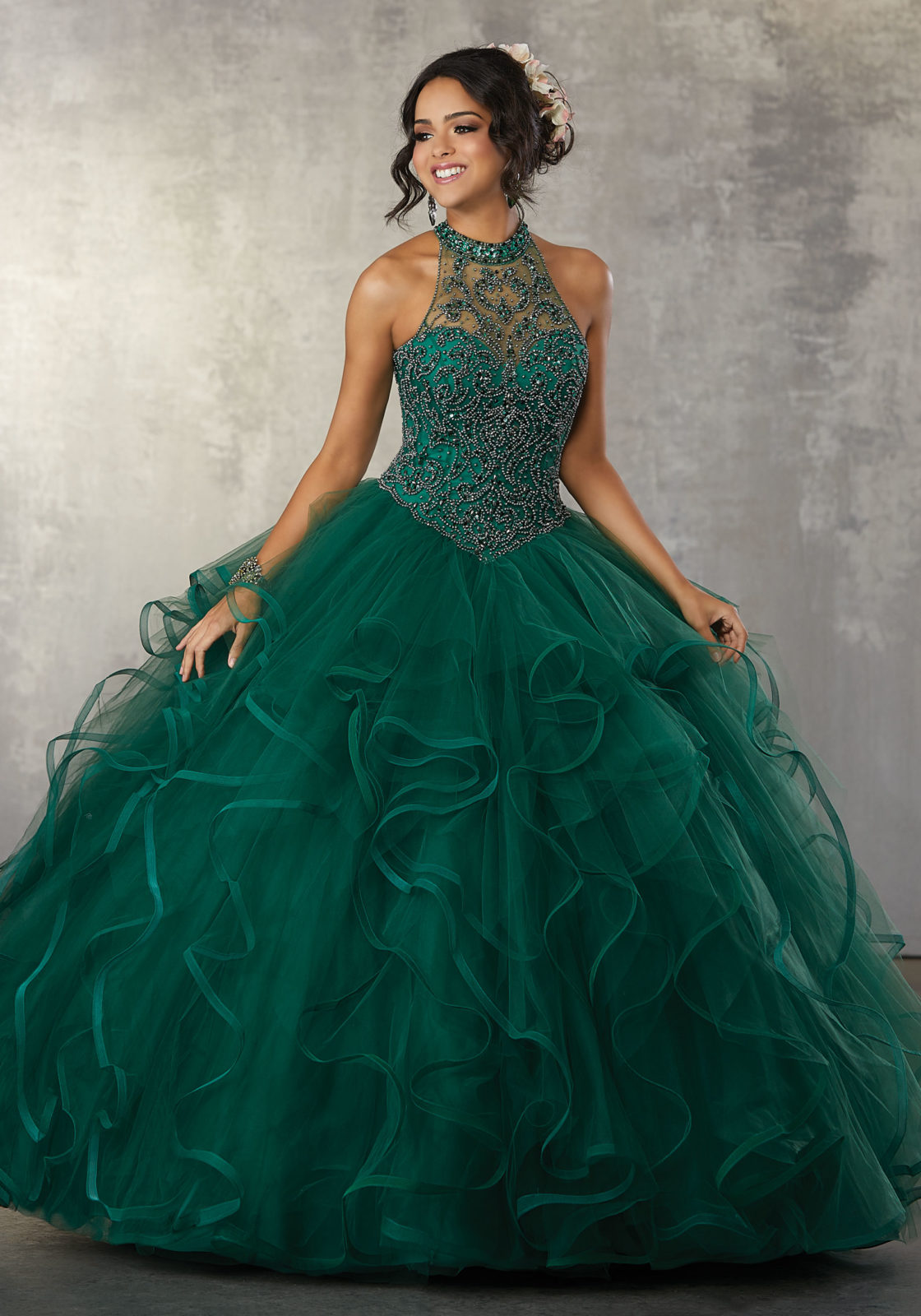 Green Ruffles Puffy Ball Gown Quinceanera Dresses 2018 Crystal ...