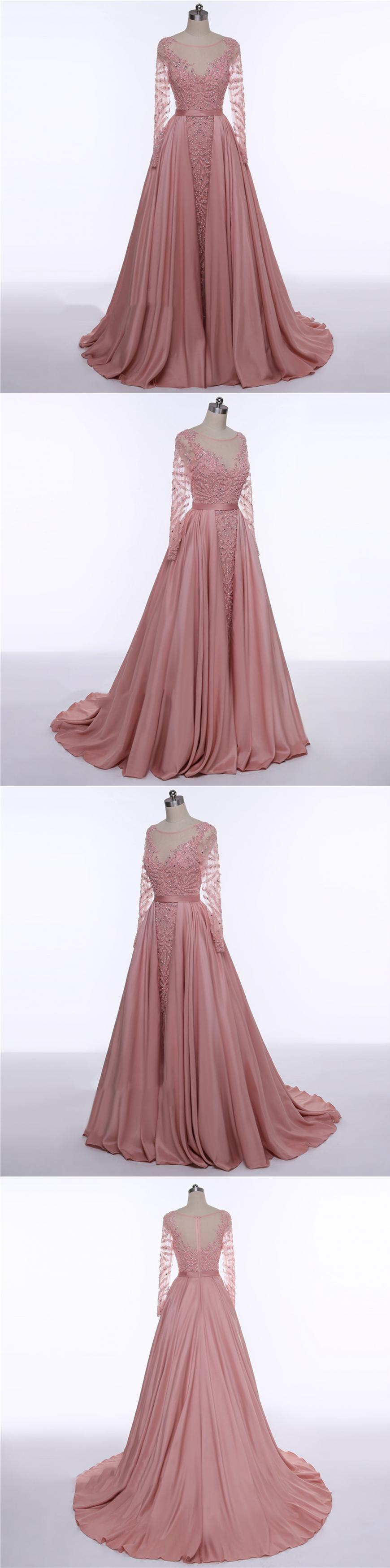 New Arrival Prom Dress,Dusty Pink Prom Dress,Detachable Prom Dress ...
