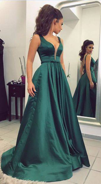 Dark Green Prom Dress Long Prom Dresses Prom Dresses