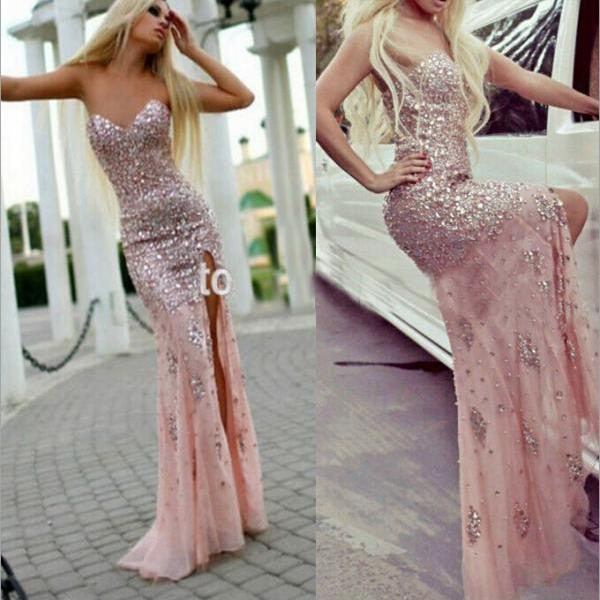 Pink Prom Dress Mermaid Sweetheart With Sparkly Beaded Bodice Corset ...