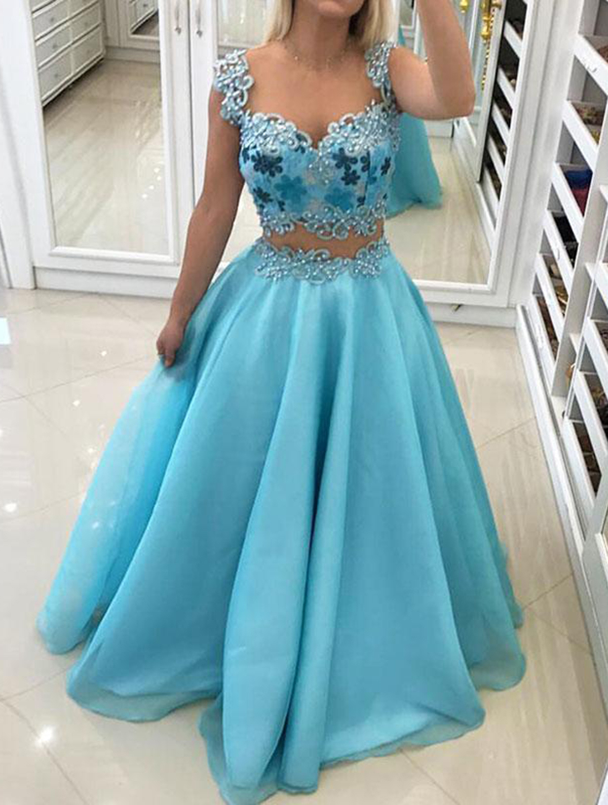 Sky blue two pieces sweetheart beaded floor length spring prom ...