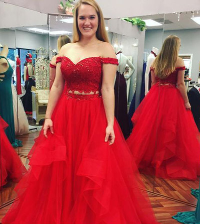 Hot Sell Red Off the Shoulder Prom Dresses with Beaded ...