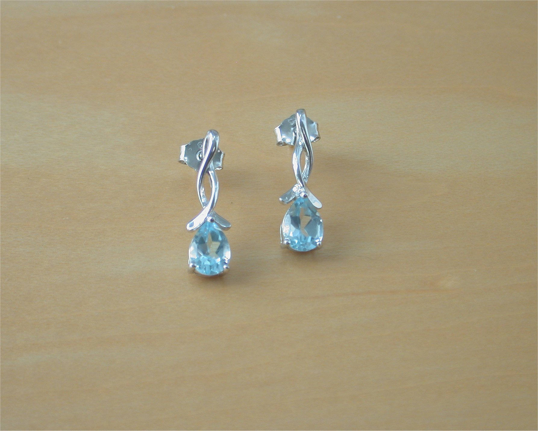 topaz jewelry round earrings sterling silver blue jewellery