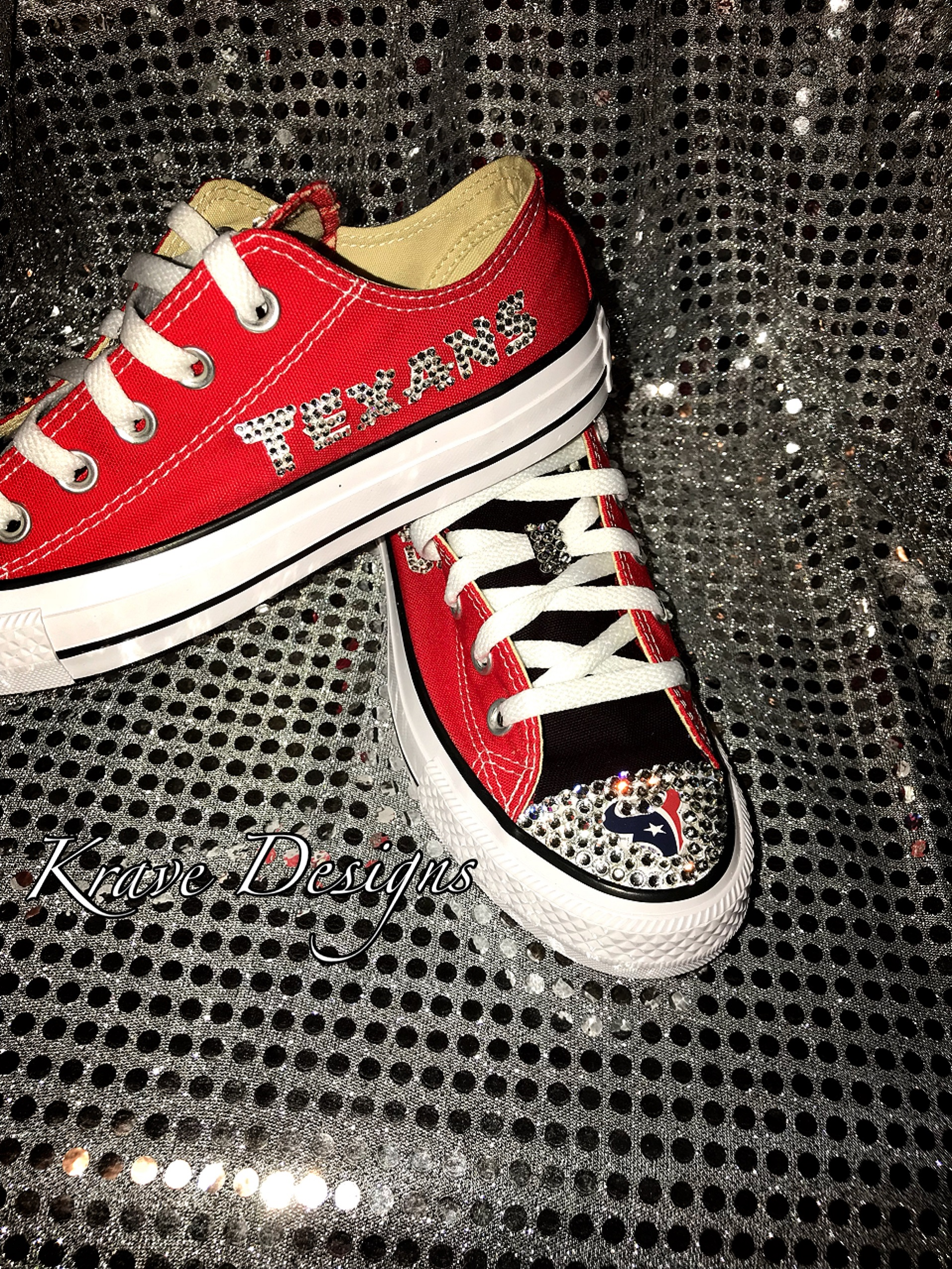 Adult Bling Chuck Taylor Lo-Top Houston Texans Shoes, Bling Shoes ...