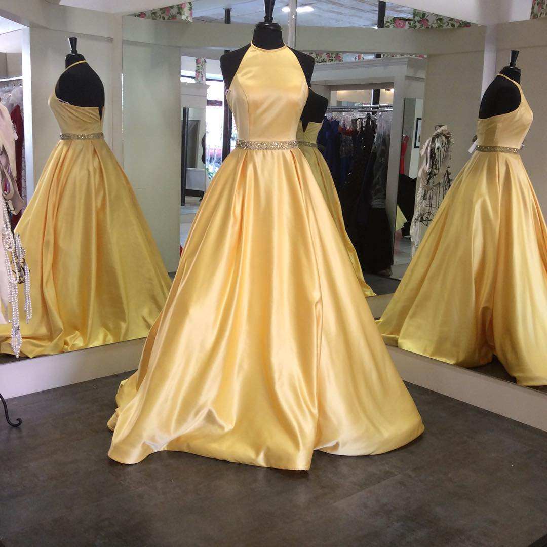 Ball Gown Halter Satin Prom dress with Beading yellow Prom Dresses ...