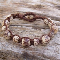 Macrame Brown Hemp with Natural Salwag Seed Beads